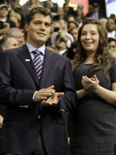 Levi Johnston and Bristol Palin listen as Sarah Palin speaks at the RNC