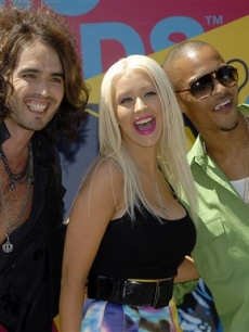 Russell Brand, Christina Aguilera, and T.I. at the MTV Video Music Awards sneak preview