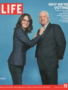 Life Magazine cover with Tina Fey and John McCain from Oct. 2004