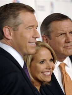 Brian Williams, Katie Couric and Charlie Gibson at the Stand Up to Cancer benefit