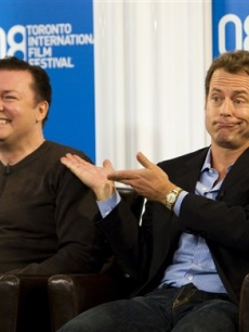 Ricky Gervais and Greg Kinnear talk up their latest, 'Ghost Town,' at the Toronto Film Festival