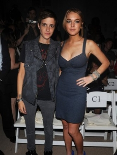 Lindsay Lohan and Samantha Ronson pose during Fashion Week