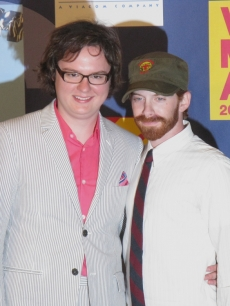 Clark Duke and Seth Green backstage at the VMAs