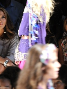 Jennifer Lopez and Eva Longoria at the Diane Von Furstenberg show during Fashion Week in New York