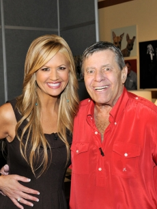 Nancy O'Dell and Jerry Lewis at the 2008 MDA Telethon
