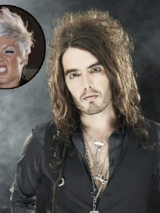 Pink (inset) and Russell Brand 