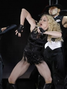 Madonna performs on stage as part of her &#8216;Sticky and Sweet&#8217; 