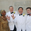 Nichelle Nicols, Brad Altman, George Takei and Walter Koenig the wedding of Altman and Takei