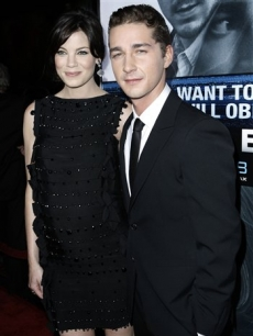 Shia LaBeouf and Michelle Monaghan pose together at the premiere of 'Eagle Eye' in Los Angeles