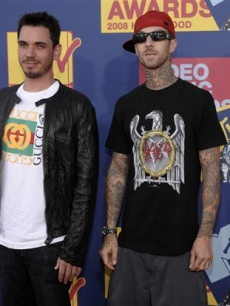 DJ AM and Travis Barker at the VMAs