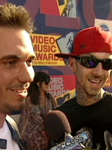 DJ AM and Travis Barker chat with Access at the 2008 MTV VMAs