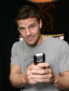 David Boreanaz checks out the Palm centro smartphone!