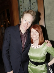 Conan O'Brien and Kate Flannery at the NBCU Pre-Emmy Party at Spago