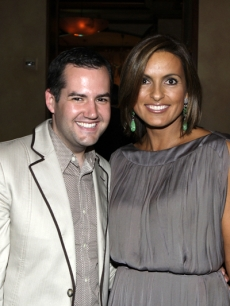 Ross the Intern and Mariska Hargitay at NBCU's Pre-Emmy bash at Spago
