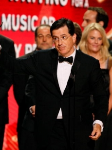 Steven Colbert accepts the Emmy for &#8216;Colbert Report&#8217;