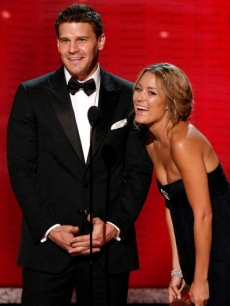 'Bones' star David Boreanaz and 'Hills' star Lauren Conrad onstage at The Emmy Awards