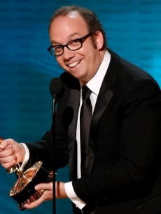 Paul Giamatti with the Emmy for Best Actor in a Miniseries or Movie for 'John Adams'