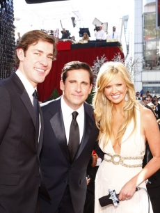 John Krasinski and Steve Carell with Nancy O'Dell