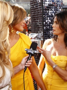 Mariska Hargitay, Teri Hatcher and Nancy O'Dell chat on the Emmys red carpet