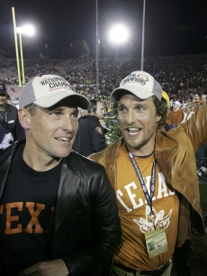 Lance Armstrong and his buddy Matthew McConaughey at a USC-Texas game, 2006