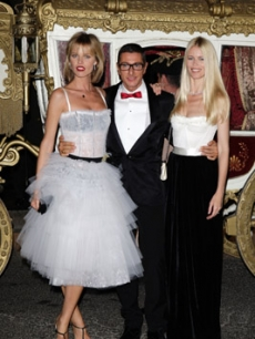 Eva Herzigova, Stefano Dolce and Claudia Schiffer, arrive to D&amp;G&#8217;s Milan Spring 2009 after-party