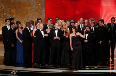 Tina Fey and the '30 Rock' team onstage at the 2008 Emmys