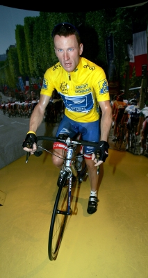 Lance Armstrong on his bike