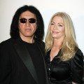 Gene Simmons and Shannon Tweed pose at Mercedes-Benz Fashion Week in LA