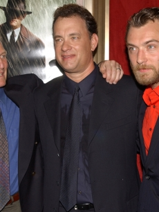 Paul Newman, Tom Hanks and Jude Law at the 'Road To Perdition' premiere