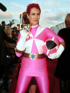 Jamie Lee Curtis, as a pink Power Ranger at a fundraiser, Halloween 2000