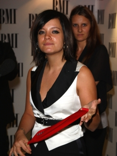 Lily Allen poses at the BMI Awards at the Dorchester Hotel on October 7, 2008&#160; 