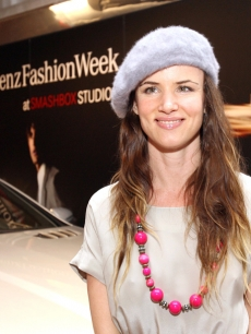 Juliette Lewis grins at Mercedes-Benz Fashion Week