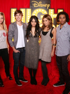 Jemma McKenzie-Brown, Zac Efron, Vanessa Hudgens, Ashley Tisdale and Corbin Bleu pose at the photo call for High School Musical 3: Senior Year at The Dorchester in London, England