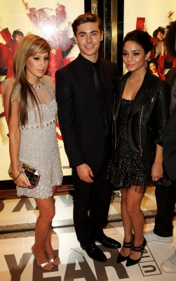 Ashley Tisdale, Zac Efron and Vanessa Hudgens at the 'HSM 3' London premiere