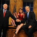 Darrell Hammond as John McCain, Tina Fey as Sarah Palin and Will Ferrell as President Bush on 'Thursday Night Live'