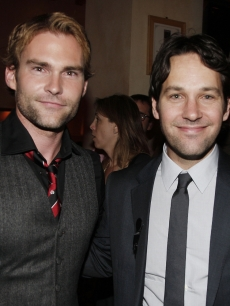Seann William Scott and Paul Rudd pose at the afterparty for the premiere of Universal's 'Role Models' at the Napa Valley Grille in Los Angeles