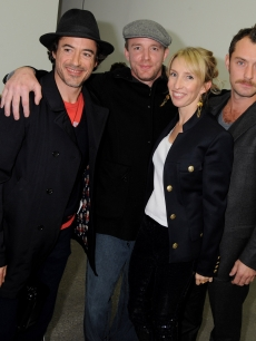 Robert Downey Jr., Guy Ritchie, Jude Law and Sam Taylor-Wood attend the private view of Sam Taylor Wood's new exhibition 'Yes I No', at the White Cube Gallery in London