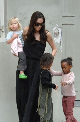 Angelina Jolie and her children Zahara, Pax, and Shiloh are seen walking in the French Quarter on October 6, 2008 in New Orleans, Louisiana
