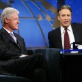 Jon laughs with President Bill Clinton