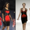 Michelle Obama on Election Night/A model wears the same Narciso Rodriguez gown at NY Fashion Week