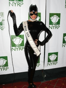 Miss USA Crystle Stewart attends Bette Midler's New York Restoration Project's 'Hulaween' at the Waldorf-Astoria Hotel