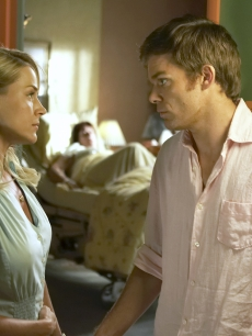 Dexter Morgan (Michael C. Hall) and Rita Bennett (Julie Benz) from &#8220;Dexter&#8221;
