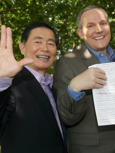 Actor George Takei (R) and partner Brad Altman (L) pose following their wedding June 17, 2008 in West Hollywood, California. Takei, 71, is known to millions of fans as Mr. Sulu from &#8216;Star Trek.&#8217;