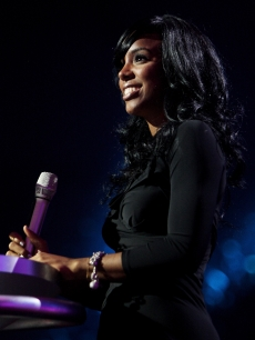 Kelly Rowland takes to the stage at the MTV Europe Music Awards, Nov. 2008 