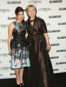 America Ferrera and Hillary Clinton on the Glamour Women of the Year red carpet, Nov. 2008 