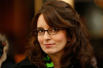 Tina Fey smiles on the set of &#8216;30 Rock&#8217;