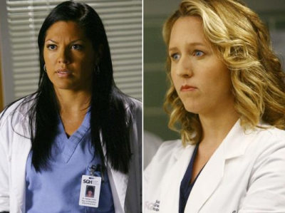 Callie Torres (Sara Ramirez) and Erica Hahn (Brooke Smith) on 'Grey's Anatomy'