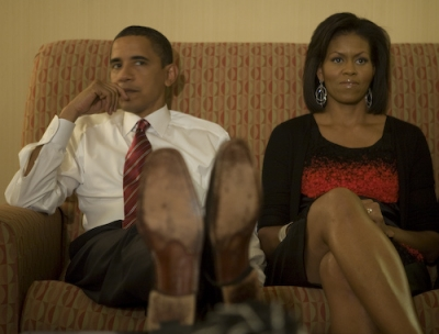 Barack and Michelle Obama watch the TV on election night, Nov. 5, 2008