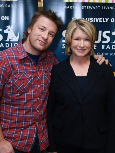 Martha Stewart interviews chef Jamie Oliver for her SIRIUS FM radio show, Nov. 2008