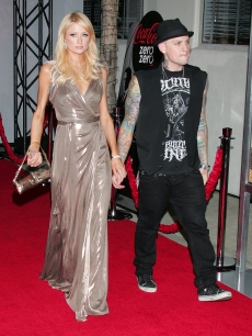Paris Hilton and musician Benji Madden attend a screening of 'Quantum of Solace' at Sony Pictures Studios